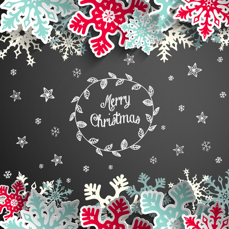 Abstract christmas chalkboard background with snowflakes, stars and text Merry Cristmas, vector illustration, eps 10 with transparency
