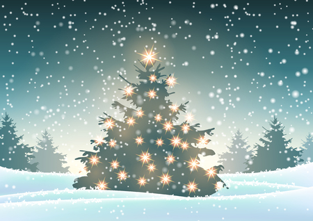 Christmas tree with lights in snowy forrest at evening, vector illustration, eps 10 with transparency