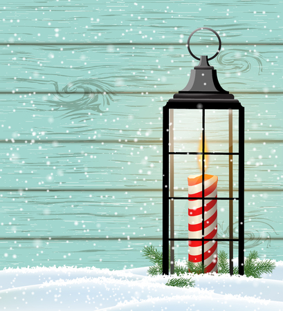 Chritmas still-life with candle in vintage lantern with blue wooden background and snow, vector illustration, eps 10 with transparency