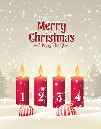 Four red advent candles with numbers in snow, with winter forrest in background, vector illustration, eps 10 with transparency