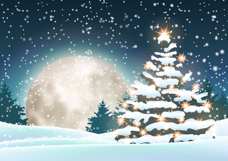 Christmas tree in snowy landscape with big moon in background, vector illustration, eps 10 with transparency