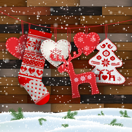 Group of hanging Christmas decorations in Scandinavian style in front of wooden wall, includes hearts, deer, tree and Santas stocking, vector illustration, eps 10 with transparency and gradient meshes