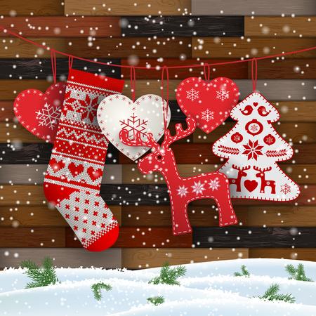 Grupo de adornos navideños colgantes en estilo escandinavo frente a una pared de madera, incluye corazones, ciervos, árboles y medias de Papá Noel, ilustración vectorial, eps 10 con transparencia y mallas de degradado