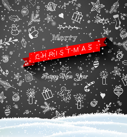 Seasonal motive, small Christmas doodles on blackboard with text Merry Christmas, vector illustration, eps 10 with transparency