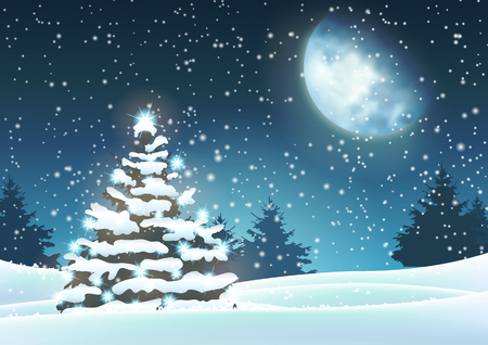 Christmas tree in snowy landscape with big moon