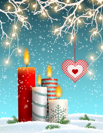 Christmas candles in snowy landscape, with decorative heart hanging from white dry branches with lights, vector illustration, eps 10 with transparency Ilustração