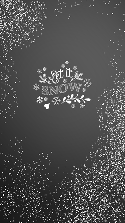 Christmas background for mobile phone or smartphone with chalk inscription Let it snow, vector illustration, eps 10 with transparency Ilustrace