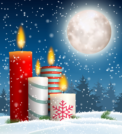 Christmas candles in snowy landscape with moon Ilustrace