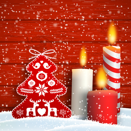 Christmas still-life with candles and abstract red tree decoration on red wooden background, vector illustration, eps 10 with transparency