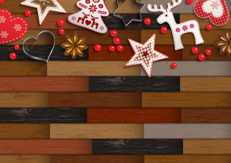 Christmas background with parquet pattern and nice decorations, vector illustration, eps 10 with transparency