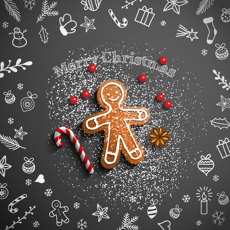Christmas theme, gingerbread man lying on blackboard with chalk doodles, candy cane, sugar and some berries, vector illustration, eps 10 with transparency Ilustrace