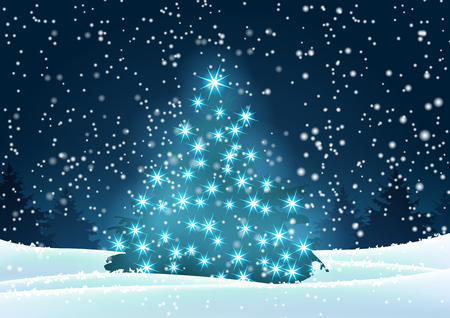 Christmas tree with blue lights in dark landscape with forest in background and snow, vector illustration, eps 10 with transparency