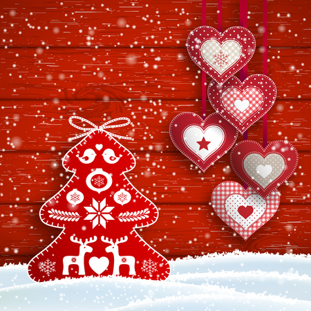 Christmas still-life with hanging hearts and abstract red tree decoration on red wooden background, vector illustration, eps 10 with transparency Ilustração