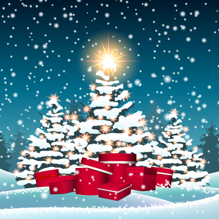 Christmas trees and red gift boxes in snowy landscape and big shinny star, holidays motive, vector illustration, eps 10 with transparency Ilustrace