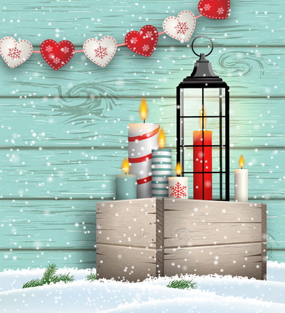 Christmas still-life, wooden box with candles and lantern on blue wooden background, vector illustration, eps 10 with transparency Ilustrace
