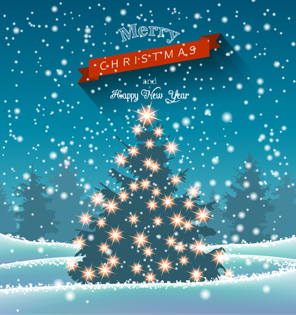 Christmas tree with lights in dark landscape with forest in background, with text Merry Christmas, vector illustration, eps 10 with transparency