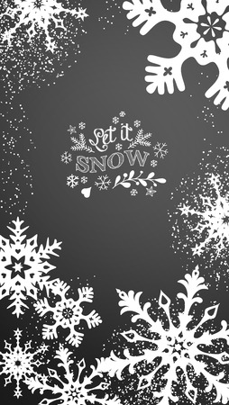 Christmas mobile phone background with chalk inscription