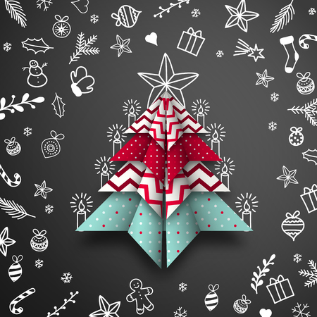 Abstract origami Christmas tree with doodles on black chalkboard background, vector illustration, eps 10 with transparency Ilustrace