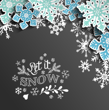 Abstract Christmas chalkboard background with snowflakes and text Let it snow, vector illustration, eps 10 with transparency
