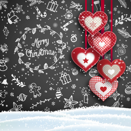 Christmas background with white chalk doodles and hanging red hearts on black background, vector illustration, eps 10 with transparency