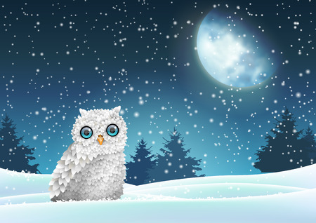 Winter background, owl sitting in snow under moon