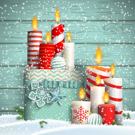 Christmas still-life with white and red candles and nice blue gift box on blue wooden background, vector illustration, eps 10 with transparency