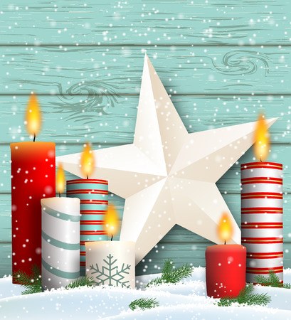 Christmas still-life with white and big white star decoration on blue wooden background, vector illustration, eps 10 with transparency