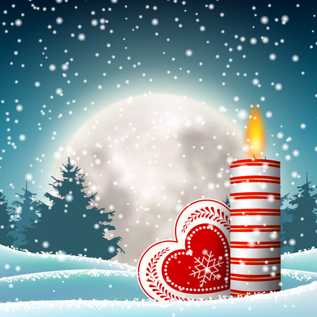 Christmas candle in snowy landscape with moon