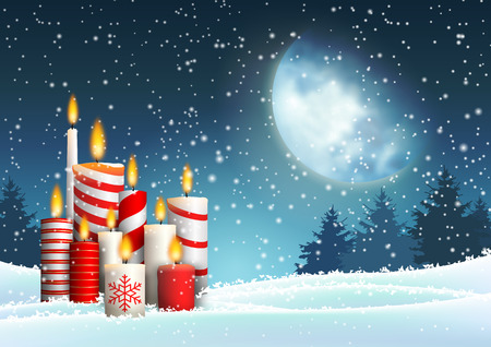 Christmas candles in snowy landscape under big moon, with night forest in background, vector illustration, eps 10 with transparency