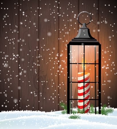 Christmas still-life with old black lantern on dark brown wooden background, vector illustration, eps 10 with transparency Illustration