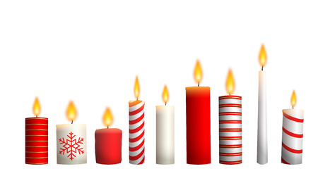 Christmas candles isolated on white background, illustration Reklamní fotografie