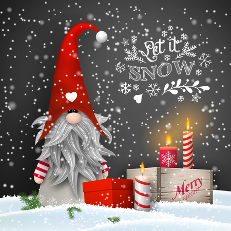 Christmas dwarf with candles and gift boxes on black background Stok Fotoğraf - 110281633