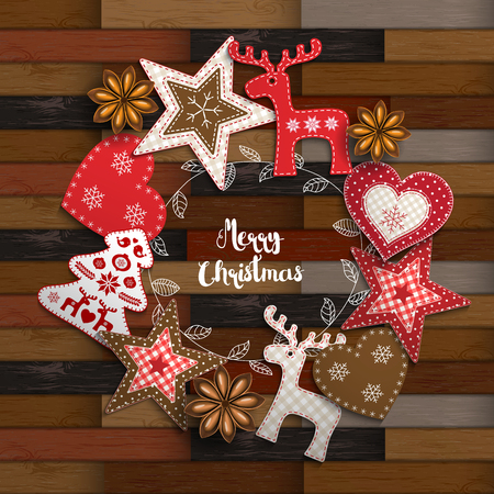 Christmas traditional ornaments on wooden parquet background