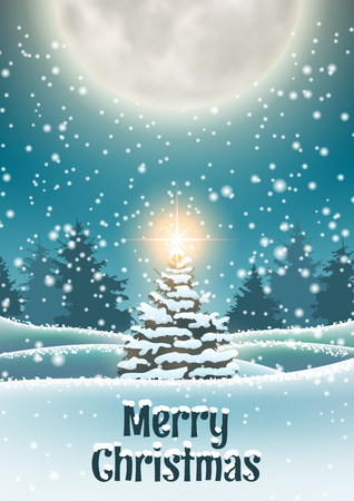 Christmas tree in snowy landscape with shinny star big moon in background, vector illustration, eps 10 with transparency Ilustrace