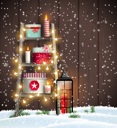Christmas theme, wooden ladder with candles and gift boxes in snow on dark brown wooden background, vector illustration, eps 10 with transparency