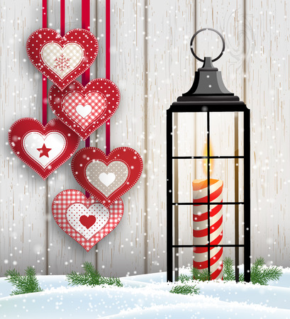 Christmas still-life with hearts and black lantern