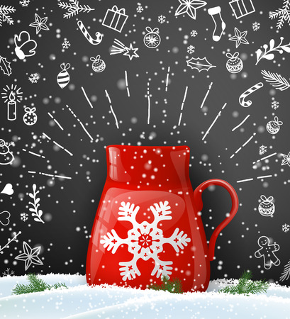 Christmas background with red cup of tee or coffee with abstract snowflake on black background with chalk doodles, vector illustration, eps 10 with transparency Ilustrace