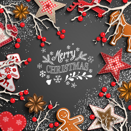 Christmas theme with white chalk lettering, rustic decorations and text Merry Christmas on black background, vector illustration, eps 10 with transparency and gradient mesh. Vetores