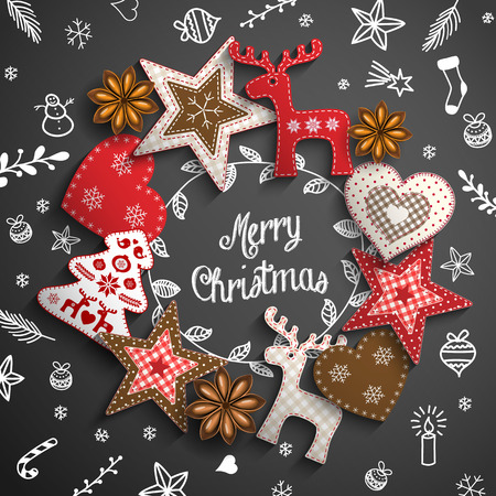Christmas theme with white chalk doodles and wreath made from rustic ornaments on black background, vector illustration