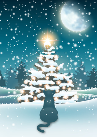 Winter background, cat sitting in snow with Christmas tree Ilustrace