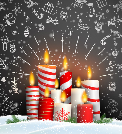 Christmas background with group of burning red and white candles on black background with chalk doodles, vector illustration, eps 10 with transparency Ilustrace