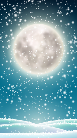 Winter background, big moon on winter sky Ilustrace