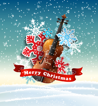 Christmas motive with violin and paper snowflakes in winter landscape, vector illustration, eps 10 with transparency and gradient meshes