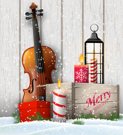 Christmas still-life, violin, rustic wooden box, old lantern, candles and gift box on white wooden background, vector illustration, eps 10 with transparency and gradient meshes