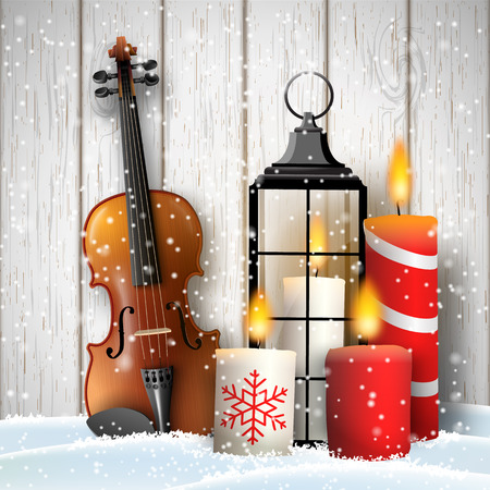 Christmas still-life, violin, old black lantern and candles on white wooden background, vector illustration, eps 10 with transparency and gradient meshes