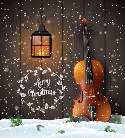 Christmas greeting card with with violin and lantern on brown wooden background, vector illustration, eps 10 with transparency