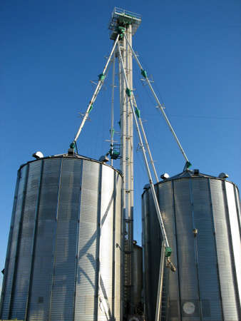 storage bin: Farming industry: steel grain storage bin Stock Photo
