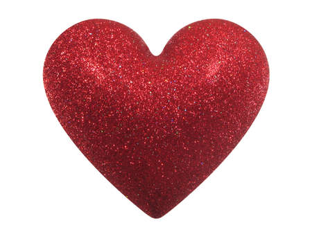 Red glittering Valentine heart isolated on white background. With clipping path.