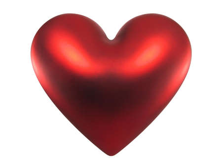 Red shiny Valentine heart isolated on white background. With clipping path.