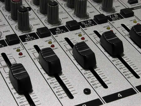Sound mixer. Mixing board for audio recording.